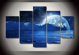 Canada 5 panneaux HD imprimés bleu mer glace eau froide planètes et étoiles de nuit groupe peinture salle décor impression affiche photo toile tableau peinture cheap blue ice pictures Offre