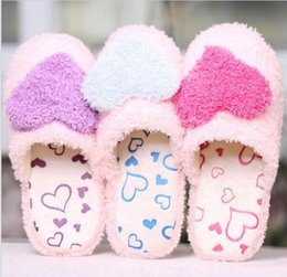 Wholesale Ladies Heels Wholesale - Lovely Creative Design Women Ladies Home Use Floor Slippers Indoor Girls Cotton Padded Heart Decoration Female Warm Shoes G844