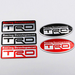 Wholesale Trd Emblems Decals - Aluminium TRD Racing Developemnt Rear Badge Trunk Emblem Decal Sticker for Toyota Camry Reiz Corolla Prius RAV4 Auris