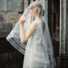 2bfbddeb44 Cinta de crin doble Velo de novia con colorete Empujado con los dedos  Longitud Velos de encargo Longitud nupcial Accesorios Círculo Velos de gota  Lujo