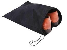 Wholesale Shoe Travel Bag Fabric - Non-woven Shoe Drawstring Travel Storage Shoe Dust-proof Tote Dust Bag Case Black White Pouch Tote Bag Dust-proof Shoe