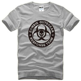 Wholesale Pink Zombie - New Summer Style Zombie Outbreak Response Team T Shirts Men Cotton Short Sleeve O-Neck Apocalypse Hunter Men's T-Shirt skull Top Tees S-3XL