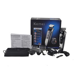 Wholesale Ear Care - Original KM-1832 kemei Waterproof Electric hair clipper shaver beard trimmer nose ear rechargeable cutting haircut kit men face care(0606003