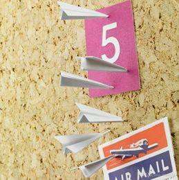 Wholesale Airplane Drawings - 6pcs  Office Flying Pushing Thumb tack Drawing Pin Student Paper Airplane Pushpin Fold Times Sake Push Pin Set