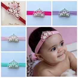 Wholesale Tiaras Headbands For Girls Wholesale - baby princess crowns headbands for girls tiara crown headband newborn lace hairbands children hair accessories photography props glitter top