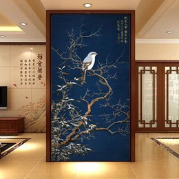 Vintager vogel tapete online-Vintage 3D Wallpaper Blumen Vögel Wandbild chinesischen Stil Fototapete Korridor Schlafzimmer Wohnzimmer Wandverkleidung Tür Art Room Decor