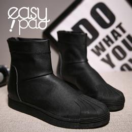 Wholesale Punk Boots Men - Wholesale-black with white color 2015 tide owens leather high top casual shoes for man owens rivet mens ankle boots flats Punk shoes