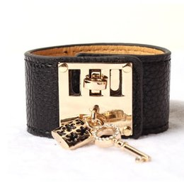 Wholesale Tins For Candy - Hot new LOVELY Fashion star style women's bracelet and candy multicolour Women strap lock with key bracelet for gift