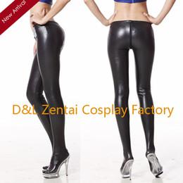 Wholesale Shiny Pants Women Tight - Wholesale-Free Shipping Sexy Fashion Black Shiny Metallic Pants Tight Trousers For Women KR01