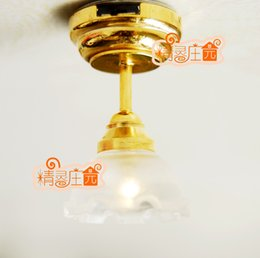 Wholesale Rement Miniature - G05-X4316 children baby gift Toy 1:12 Dollhouse mini Furniture Miniature rement white flower top light can be light 1pcs