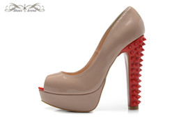 Wholesale Thick Heeled Wedding Shoes - WBS990B Size 34-42 Women 14cm Thick High Spikes Heels Beige Patent Leather With Peep Toe Pumps,Ladies Luxury Brand Wedding Party Dress Shoes