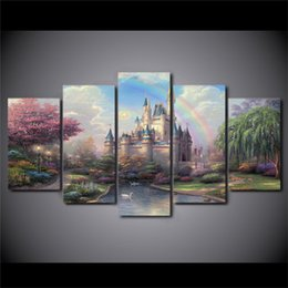 Wholesale Cartoon Thomas - Thomas Kinkade Cinderellas Castle,5 Pieces Home Decor HD Printed Modern Art Painting on Canvas (Unframed Framed)