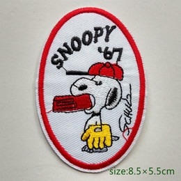 Wholesale Iron Patches Baseball - Snoopy Play Baseball Iron on Embroidered cartoon patch Shirt Kids Gift baby shirt bag trousers coat Decorate