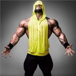 Wholesale Men Plain Hoodies - Plain Gym Tank Top For Men Blank Bodybuilding Stringer Hoodies Sleeveless Shirt Cotton Custom Logo Gymshark Gorilla Golds Gym hight quality