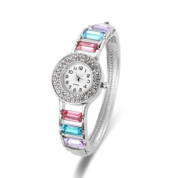 Wholesale Round Glass Stones - Silver Plated Diamond Watches Luxury Swarovski Stone Watches Casting Bangle Band Ladies Watches For Women 61166082