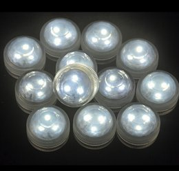 Wholesale Ip68 Battery Led - 50pcs Waterproof IP68 Underwater CR2032 Battery Powered 3LED Submersible LED Tea Lights Candle for Wedding Party