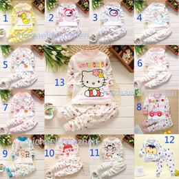 Wholesale Girls Panda Clothing Set - 13 Design Boy girl Hello kitty panda monkey puppy Pajamas children Cotton cartoon INS long Sleeve + Pants 2pcs Suits baby clothes B001