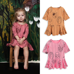 Wholesale Fox Dresses - INS Euro Fashion Girl Autumn winter style long sleeve dress fox printed girl children's elegant cotton dress 2 colors free shipping