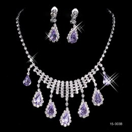 Wholesale Purple Bridal Necklace Set - Free Shipping Purple Wedding Bridal Prom Party Rhinestone Crystal Jewelry Necklace Earring Set Lobster Clasp Jewelry for Bride Cheap 15003B