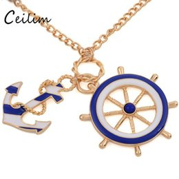 Wholesale Long Anchor Necklace - Fashion jewelry blue enamel anchor & rudder pendant necklaces for women navy sweater gold alloy link chain long necklaces holidy gifts