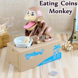 Wholesale Money Eating Piggy Bank - Money Piggy Bank Mechanical Choken Robotic Hungry Monkey Eating Coins Piggy Bank Saving Bank Saving Pot Money Box Party Favor CCA7550 48pcs