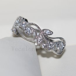 Wholesale White Topaz Ring Silver 925 - Vecalon Brand Flower Design Women Jewelry ring Topaz Cz diamond 925 Sterling Silver Engagement wedding Band ring for women Gift
