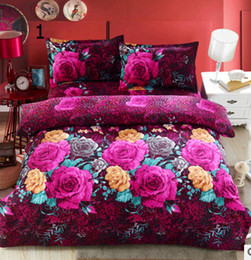 Wholesale King Size Flowered Cotton Sheets - Fashion 3D oil painting red flower bedding set queen king size Cotton 4pcs comforter duvet covers bed sheet bedclothes set