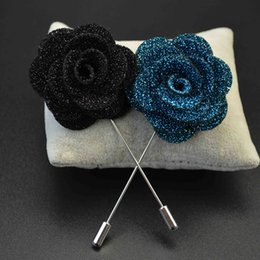 Wholesale Label For Fabric - 2016 Upscale Men's Suits Fabric Brooch Double Leaves Label Pins For Male Shiny Brooches Pin Brooch Bouquet Boutonniere Corsage