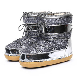Wholesale Ladies Suede Lace Up Boots - Gold Silver Bling Women Snow Boots Lace Up inside Warm Women Ankle Boots Casual Ladies Boots Shoes Work Safety Shoes