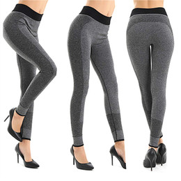 Wholesale Grey Leggings Woman - Women Fashion Tight Sportwear Nice Leggings High Elastic Thin Sports Yoga Pants Fitness Running Long Trousers Legging 2501033
