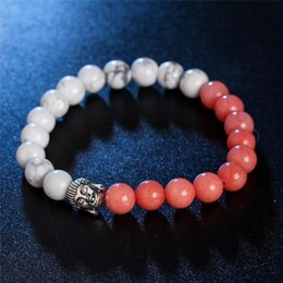 Wholesale wristband red for men - Ancient silver Buddha Bracelets Beaded Strands Charm Bracelets wristband for women men fashion jewelry gift Drop Shipping