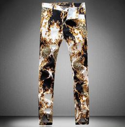 Wholesale Leopard Hot Pants - HOT 2016 New Straight Designer barber Snake men Jeans Hiphop Floral printing zipper pants Famous skinny Punk zipper man clubwear Trouser