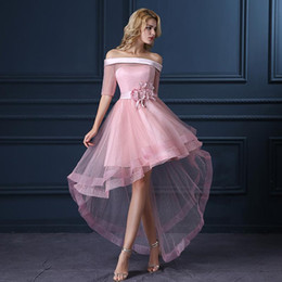 Wholesale Female Melons - Elegant Pink High Low Bridesmaid Dresses With Half Sleeve Boat Neck Handmade Flower Short Prom Gowns Plus Size Female Tulle Bridesmaid Dress