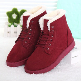 Wholesale Ladies Green Ankle Boots - Wholesale-Women Boots Warm Winter Snow Boots Female Lace Up Fur Ankle Boots Ladies Shoes Botas Femininas