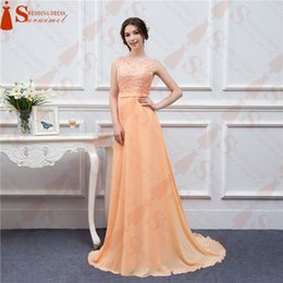 Wholesale Long Sexy Peach Bridesmaid Dresses - Free Shipping Long Chiffon Party Dresses Peach High Quality Lace Backless Sexy Formal Bridesmaid Gown Vestidos De Real Photo