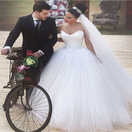 Wholesale Tulle Wedding Ball Gown Corset - Romantic Best Selling Beaded Sweetheart Corset Princess Tulle Vestidos Wedding Dresses White Ball Gown Vestido de noiva 2016 Court Train