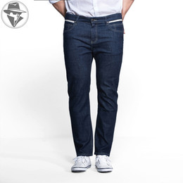 Wholesale 5xl Tall - Wholesale-Leepen Modern Classic Men's Denim Knitted Jeans Big & Tall Leisure Men Jeans Fashion Male Pants Plus Size 36-52 LP3004