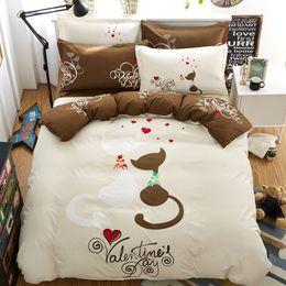 Wholesale Double Sheets - Wholesale- valentine cat bedding set 4pcs duvet doona cover bed sheet pillow cases queen double full size bed linen