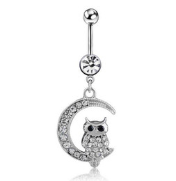 Wholesale Piercing Navel Owl - 316L Stainless Steel Sparkling Owl on the Moon Dangle Navel Ring Crystal Rhinestone Belly Barbell Piercing Kit