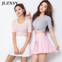 Wholesale Skater Skirts Wholesale - Wholesale- JLZXSY 2017 Women Lady High Waist Plain Skater Flared Pleated Short Mini Skirt Shorts