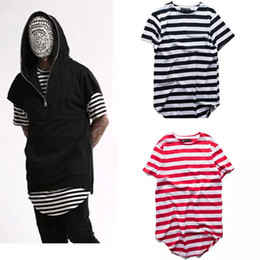 Wholesale Urban Mens T Shirts - hipster kpop streetwear mens fashion hiphop clothes swag urban clothing Striped oversized extended t shirt kanye fear of god