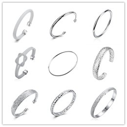Wholesale Global Day - Global Hot 925 sterling silver plated charm bangles fashion jewelry for women cool street style mix order Top Quality Free shipping