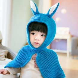 Wholesale Crocheted Baby Shawls - Autumn Winter New Girl Sweater Hooded Scarves Boys Girls Rabbit Ears Hat Baby Knitting Shawl Children Knit Pullover Cloak Scarf Christmas gi