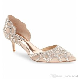 Wholesale Champagne Flat Wedding Shoes - 2017 crystals beaded pink wedding shoes pointed toe Heel silk bridal shoes Genuine Leathers shoes for wedding evening prom