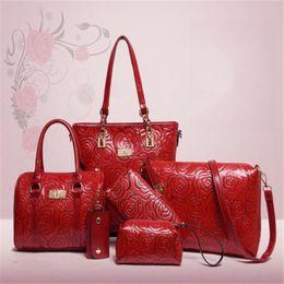 Wholesale Chinese Fashions - 2017 New fashion women handbags 6pcs one set crossbody bags purses bags muti colors classical chinese style flower pattern