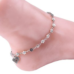 Wholesale Beach Water Sandals - 2016 Summer Women Heart Silver Bead Chain Double Zipper Anklet Ankle Bracelets Sandals Wedding Beach Foot Origami Owl Gold Jewelry