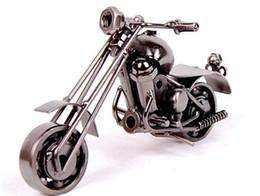 Trabajo de oficina online-2016 Nueva Decoración de Ministerio del Interior de Hierro Motocicleta Hecho A Mano de Metal Artesanía Motocicleta Modelo Obras de Arte Regalos de Navidad m34