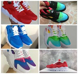 Wholesale 2017 New Air Huarache Sky Blue Rainbow Red White Inkjet Running Shoes For Men Women Lightweight Huaraches Athletic Sport Trainers
