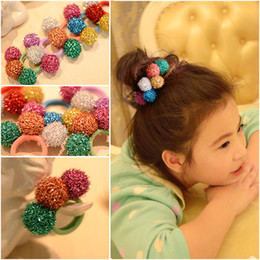 Wholesale Hair Color Ball - New Arrive Three Color Sequin Ball Children Hair Rubber Bands 2016 Winter Three Color Children Hair Accessories Party Hair Accessories 124