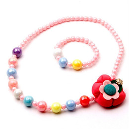 Wholesale China Wholesale Jewelry Fast Shipping - 2016 New Design Colorful Beads flower Necklace bracelet Set For girls Children Jewelry set Party Accessory Wholesale Fast Free Shipping S203